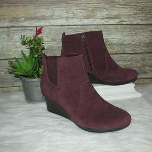 Clarks Crystal Quartz Burgundy Suede Leather Boots